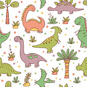 Dinosaurs and prehistoric plants. Seamless pattern. Vector illustration in doodle style. Hand drawn. Linear