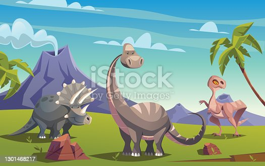 Dinosaurs and triassic landscape vector illustration