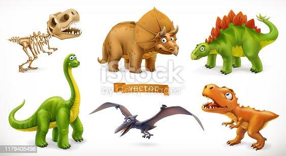 Dinosaurs cartoon character. Brachiosaurus, pterodactyl, tyrannosaurus rex, dinosaur skeleton, triceratops, stegosaurus. Funny animal 3d vector icon set