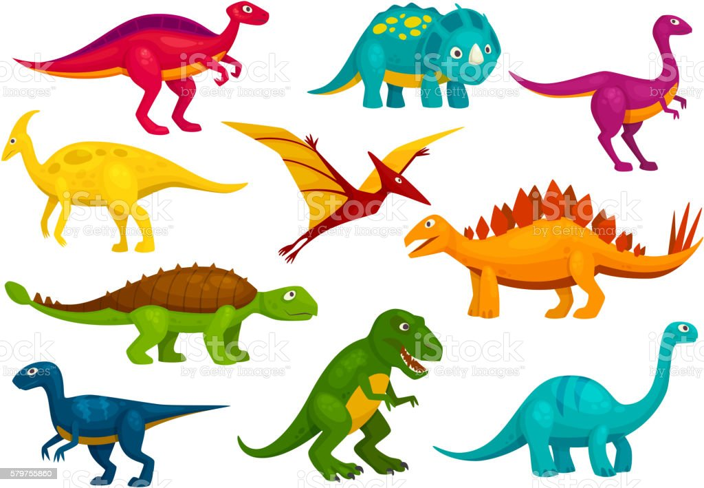 Dinosaurs cartoon collection. Vector animals - ilustração de arte em vetor