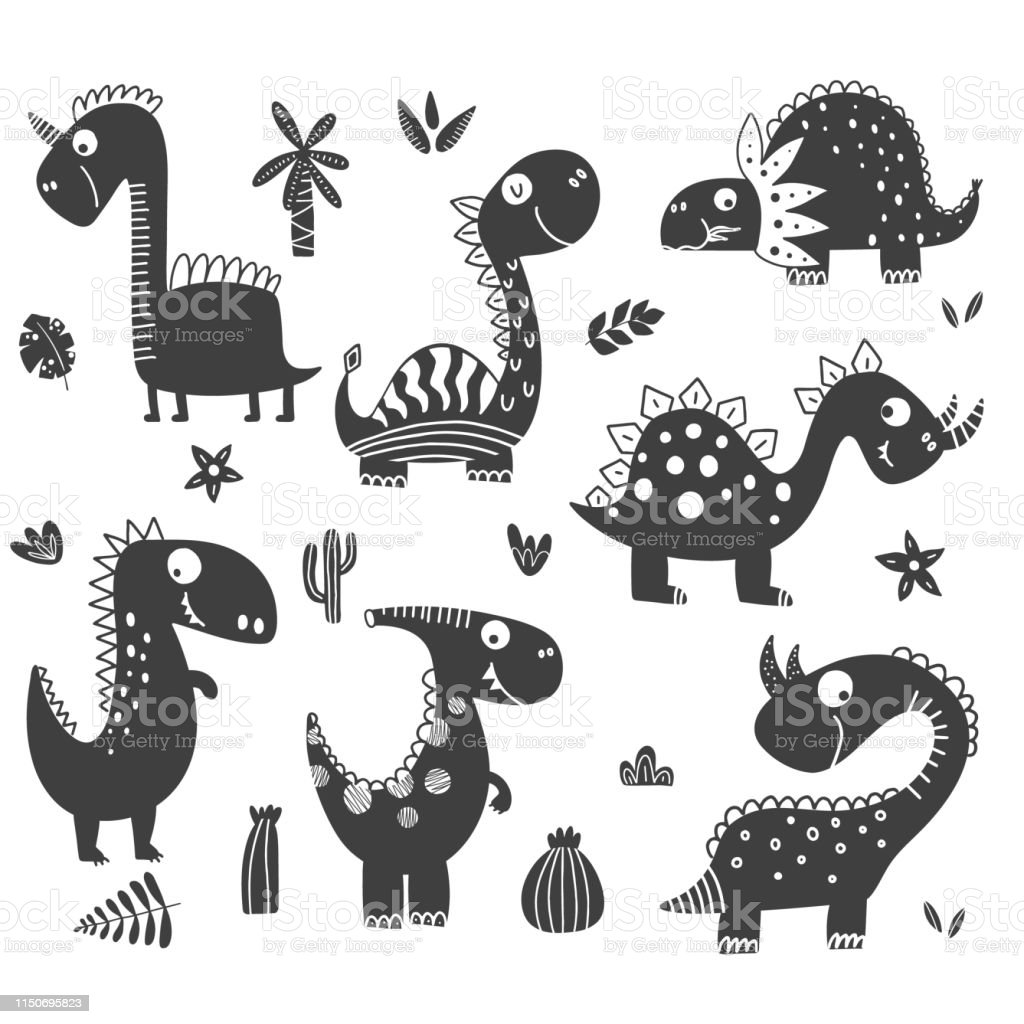 Dinosaurs Clipart In Black And White Stock Illustration ...