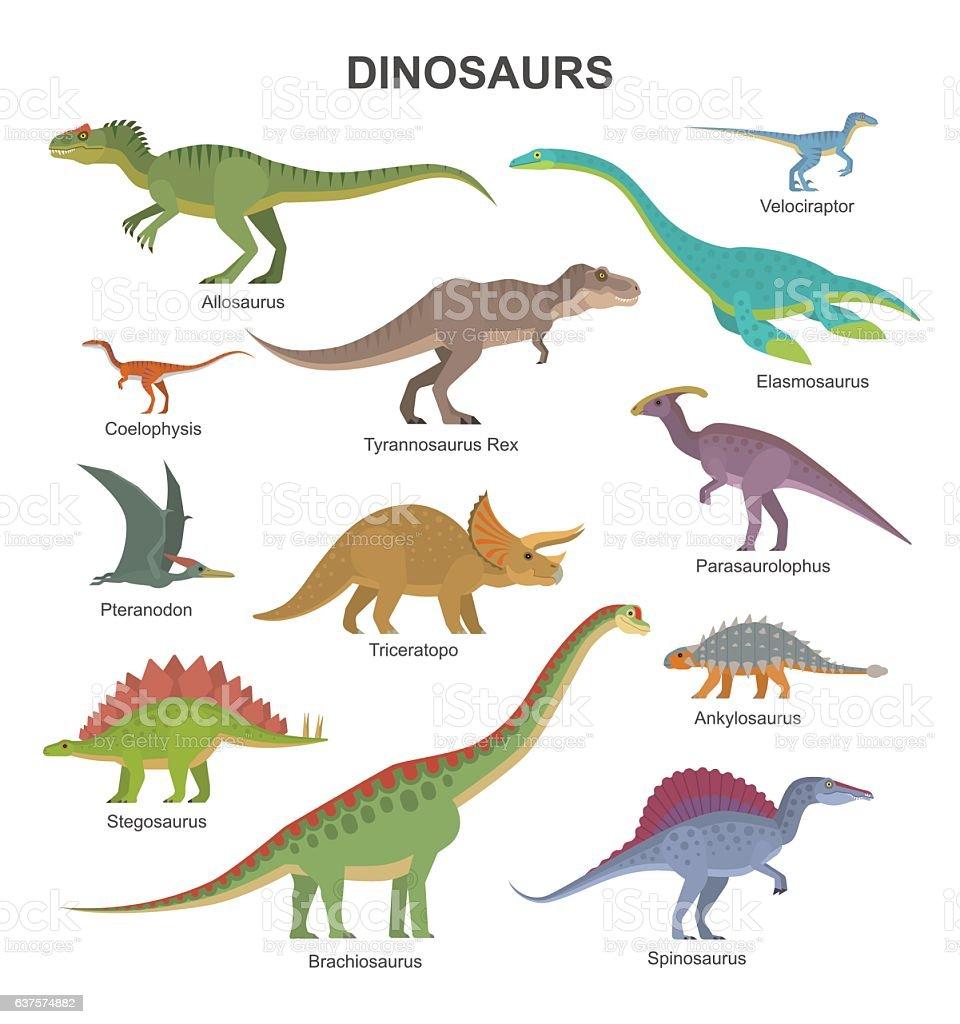 Dinosaurs collection - ilustração de arte em vetor