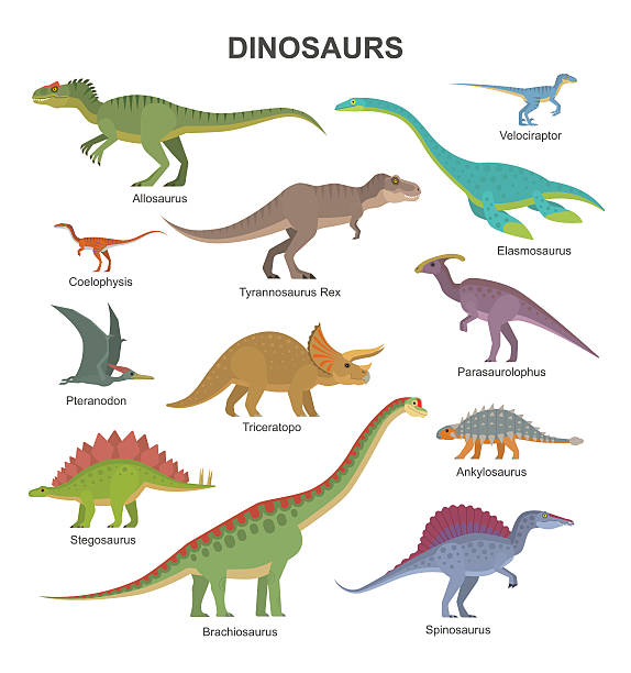 dinosaurs collection - dinosaur stock illustrations, clip art, cartoons, & icons