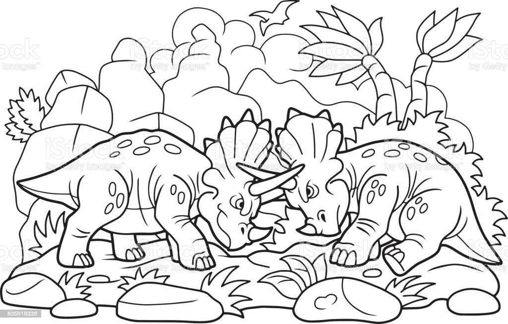 Dinozorlar Birbirleriyle Kavga Stok Vektör Sanatı Boyama Kitabı