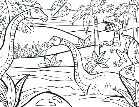 Dinosaurs Hand Drawn Adult Coloring Book Page