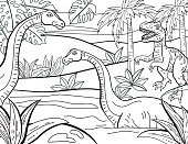 Dinosaurs Hand Drawn Adult Coloring Book Page. Lots of details.