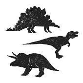 Dinosaurs hand drawn silhouette