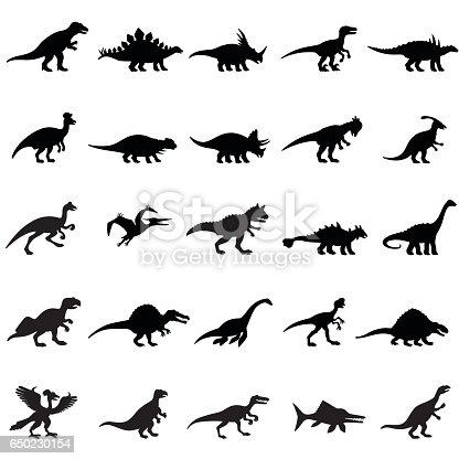 Black Dinosaurs Icon Set