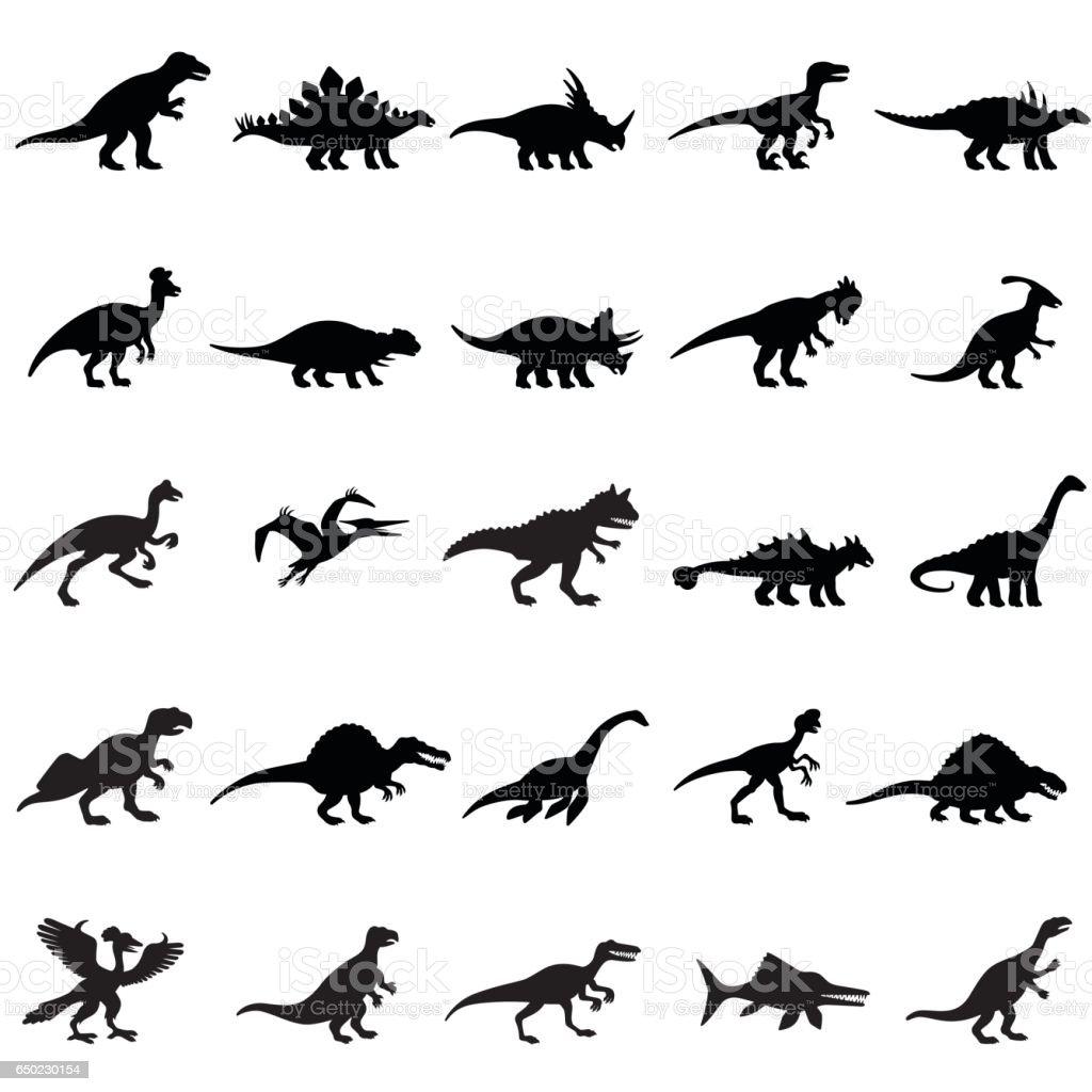 Dinosaurs Icon Set vector art illustration