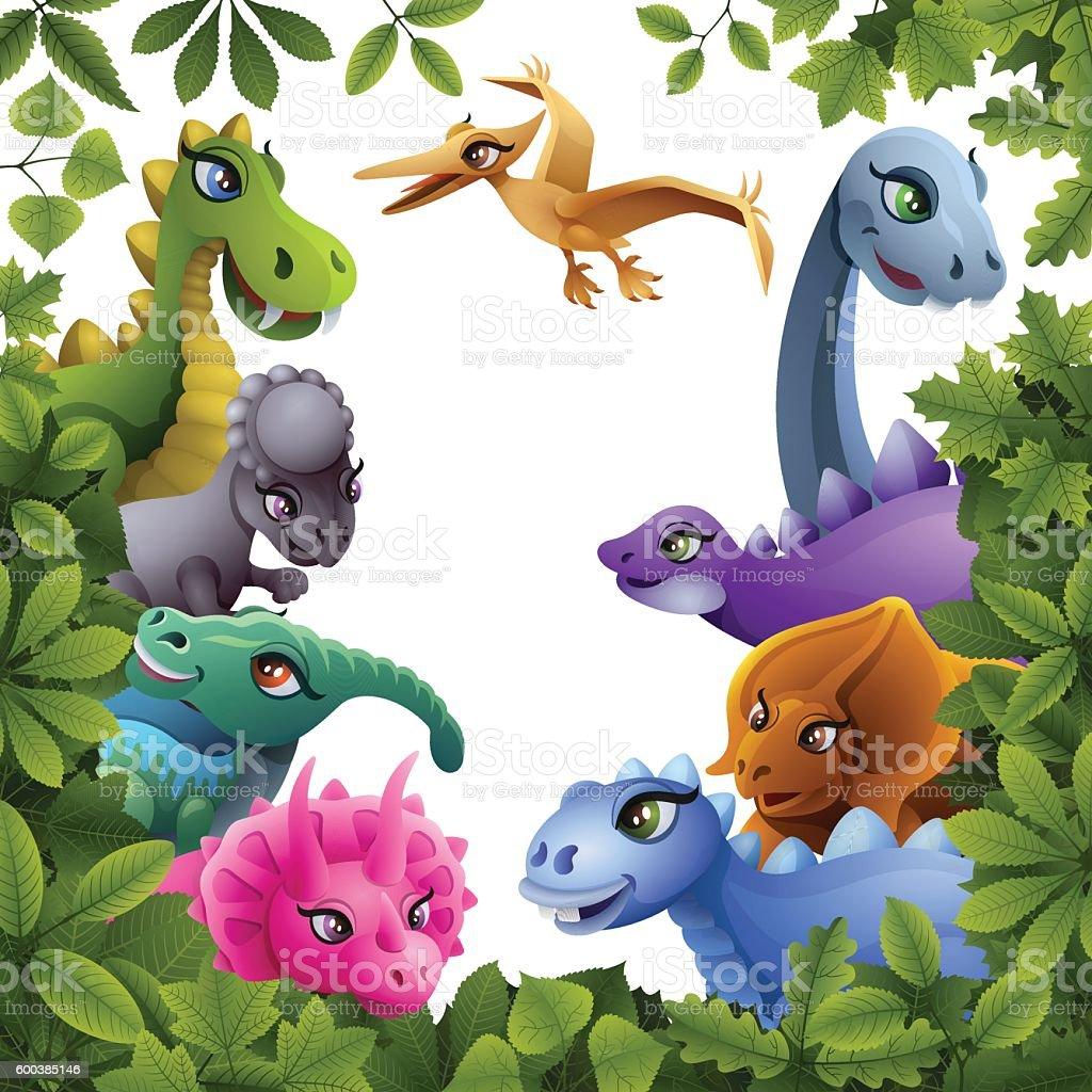 Dinosaurs in the Wild vector art illustration