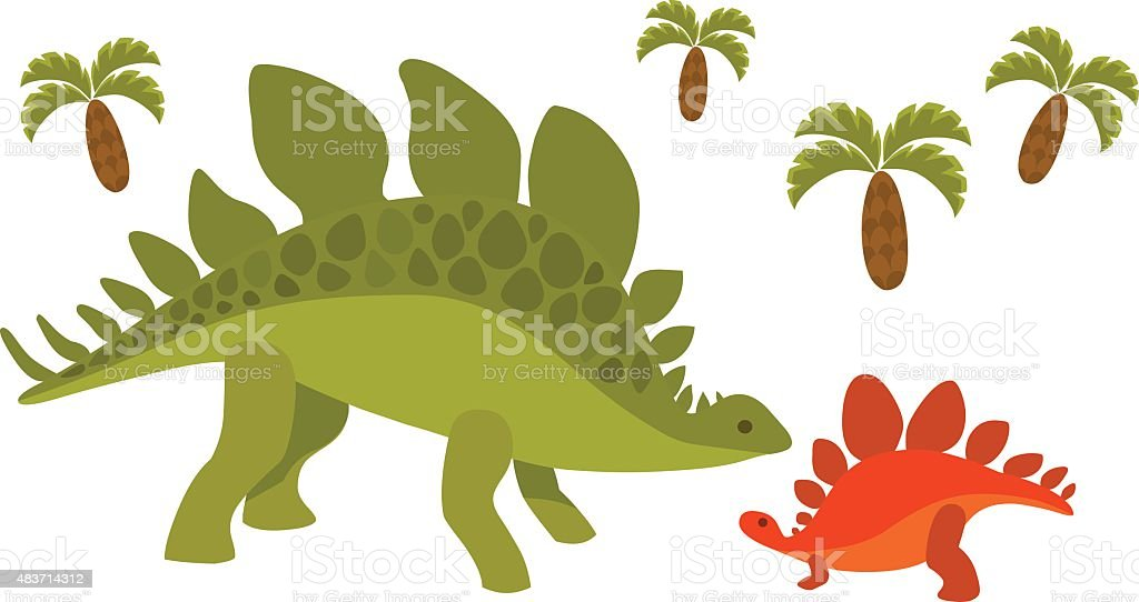 Dinosaurs; mom and baby vector art illustration