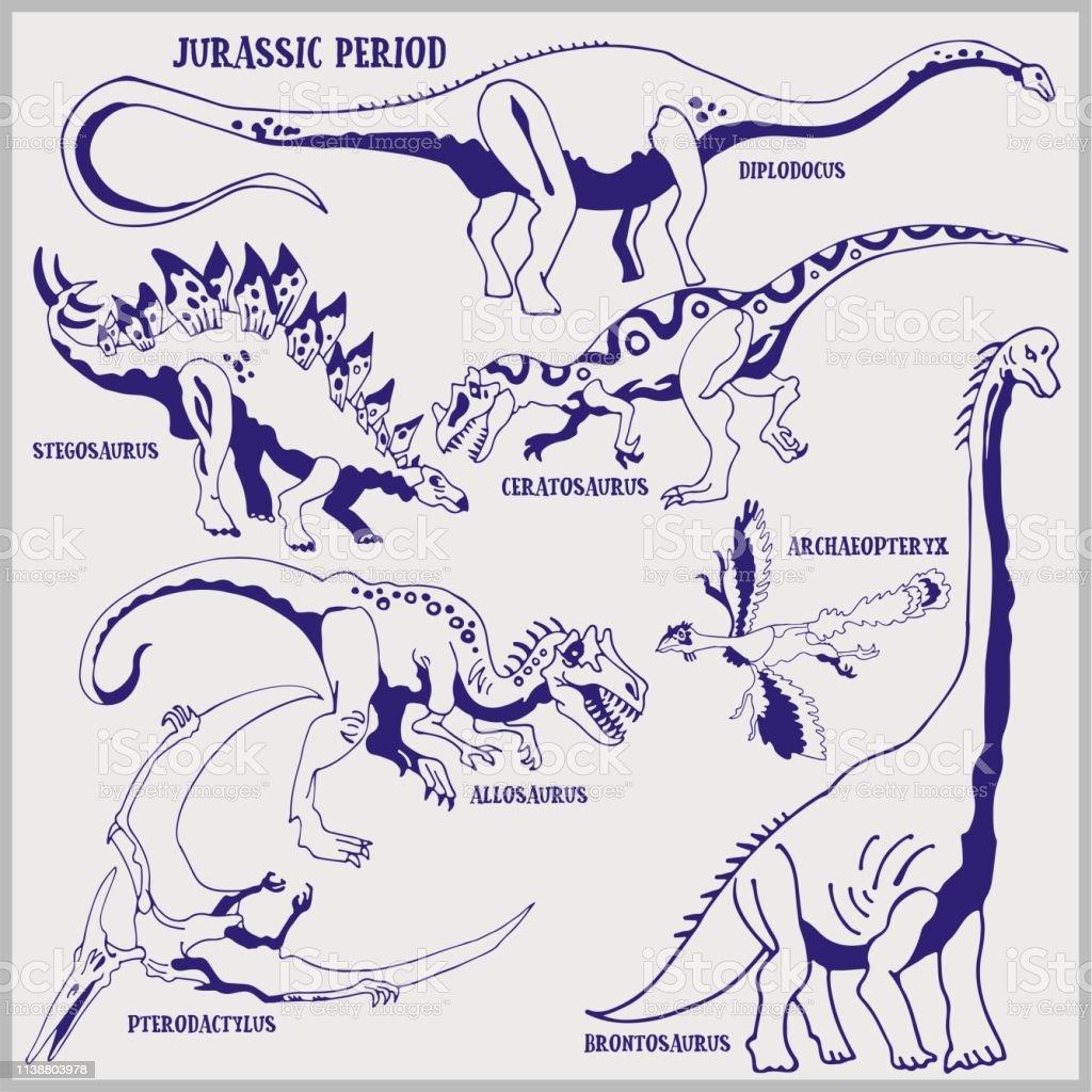Ilustración De Dinosaurios De Período Jurásico Formato