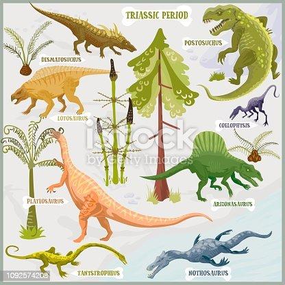 Dinosaurs of Triassic period vector format land illustration fantasy map builder set