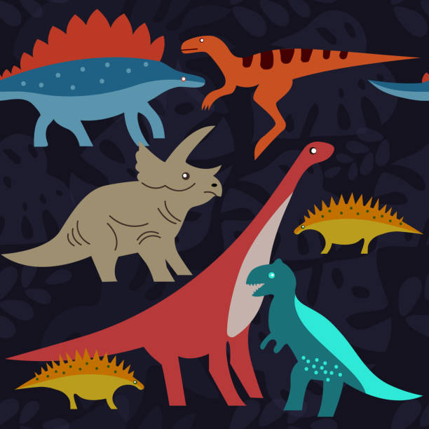 dinosaurs on background of tropical leaves - fossilized leaves stock illustrations
