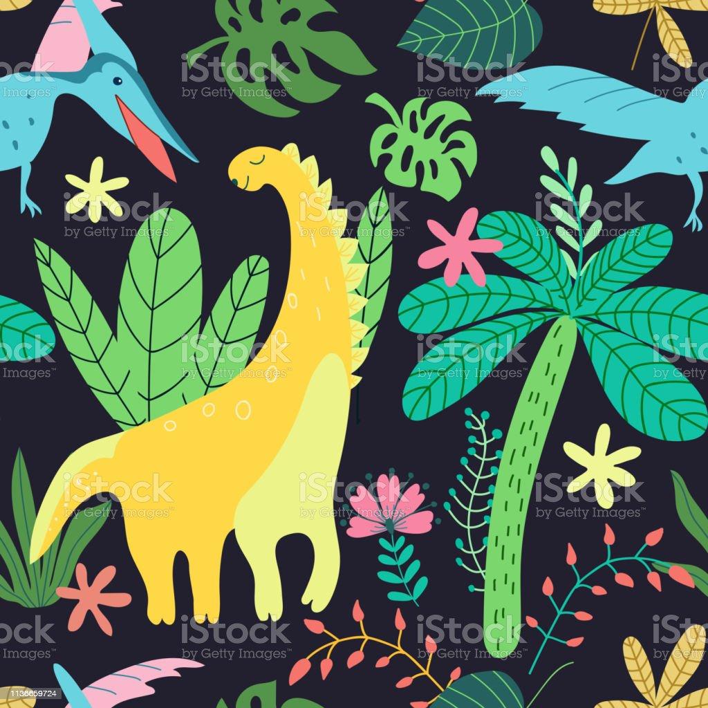 黒の背景に漫画のスタイルで恐竜のパターンの子供たちシームレスなベクターテクスチャトレンディなベクトルの壁紙かわいい動物と花のイラスト自然の背景夏の壁紙デザイン いたずらのベクターアート素材や画像を多数ご用意 Istock