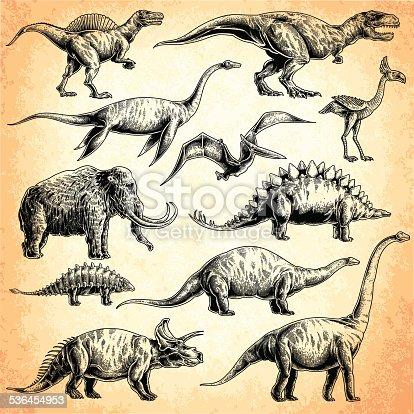set of dinosaurs. T-rex, stegosaurus, triceratops, Apatosaurus, Tyrannosaurus, euoplocephalus, spinosaurus, elasmosaurus, Plesiosauria, mammoth, Pterodactylus.
