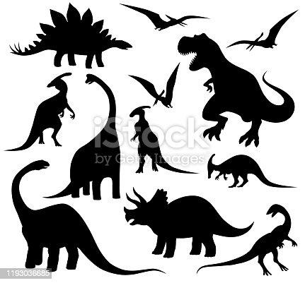 Set of dinosaur silhouettes including the following: Tyrannosaurus Rex, Stegosaurus, Triceratops, Brachiosaurus, Apatosaur, Iguanodon and Pteranodon.