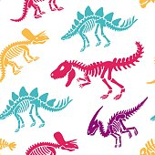 Dinosaurs skeletons fossils seamless pattern. Original colorful print for T-shirts, textiles, web. Isolated on white background. Vector illustration
