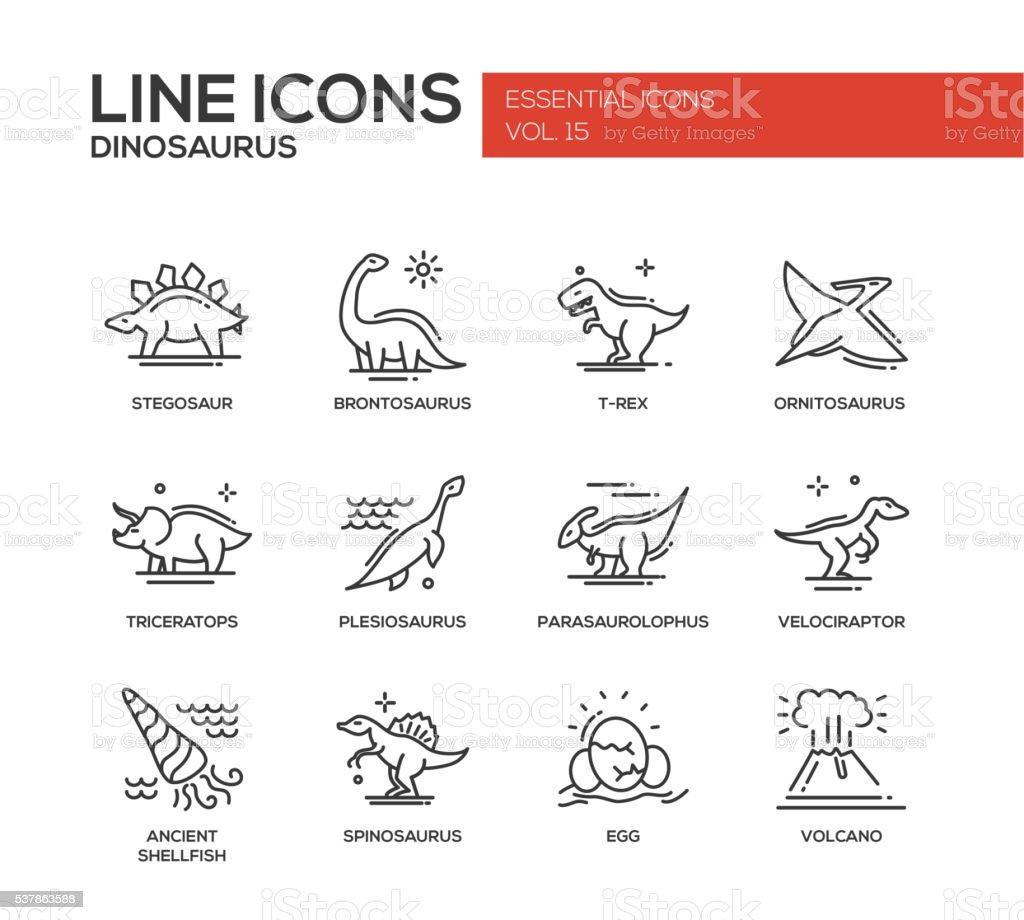 Dinosaurs species- line design icons set vector art illustration