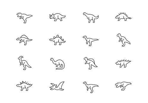 Dinosaurs thin line vector icons. Editable stroke