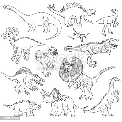 Vector illustration of dinosaurs. Doodles set.