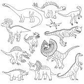 Dinosaurs Vector Doodles