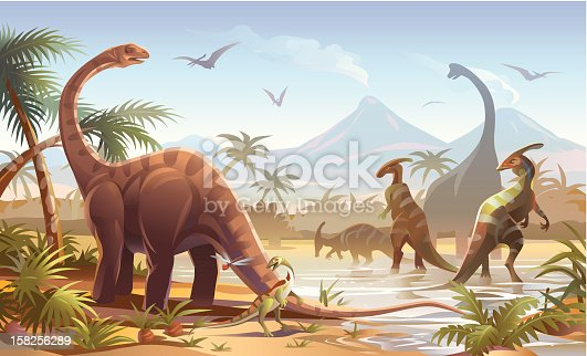 Detailed illustration of dinosaurs in a prehistoric scene. EPS8, fully editable and labeled in layers.