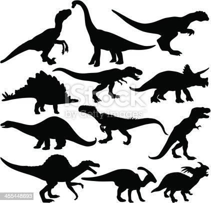 twelve different dinosaur silhouette