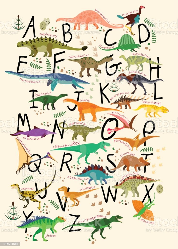 Dinossauros do ABC. - ilustração de arte em vetor