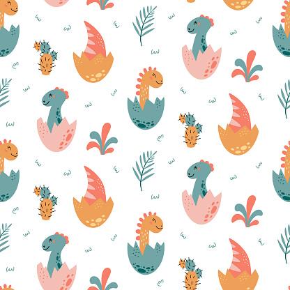 Dinosaurs vector Seamless pattern in cartoon style