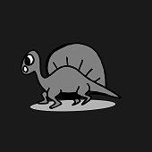 Dinosaurus cute hand drawn spinosaurus isolated on dark background.