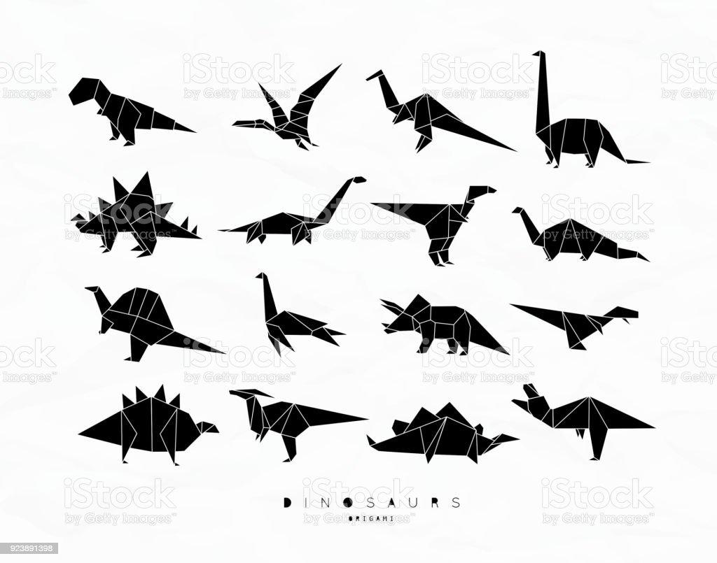 Dinosaurus origami set black stock vector art 923891398 istock dinosaurus origami set black royalty free stock vector art jeuxipadfo Choice Image