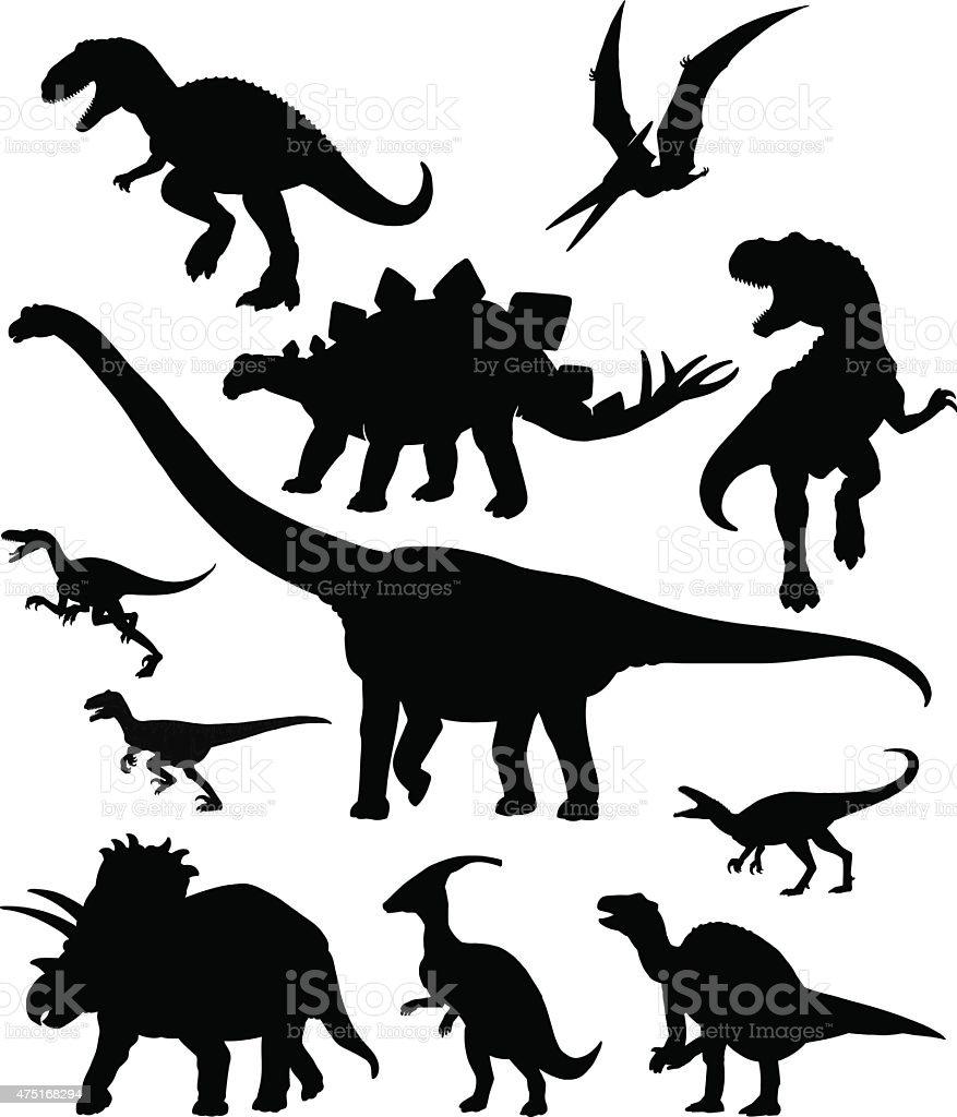 Dinosaurus conjunto de silhuetas - ilustração de arte em vetor
