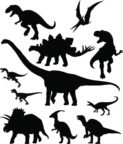 Ensemble de Silhouettes Dinosaurus - Illustration vectorielle