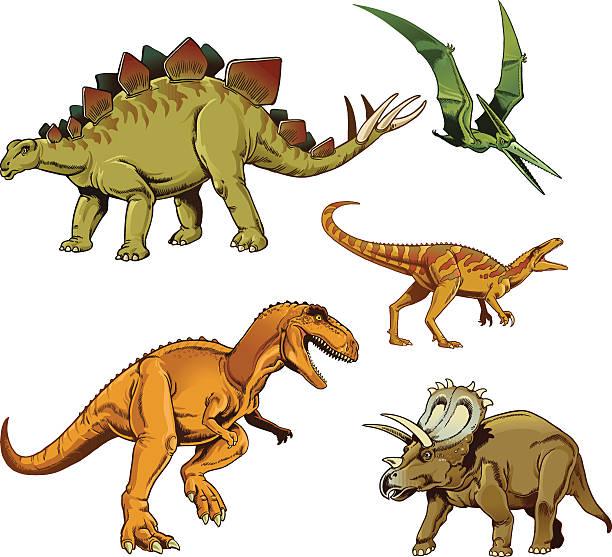 ilustrações, clipart, desenhos animados e ícones de dinosaurus conjunto de t-rex de estegossauro e raptor triceratops pterodáctilo - dinossauro