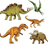 Dinosaurus Set - T-rex  Stegosaurus Raptor Triceratops Pterodactyl