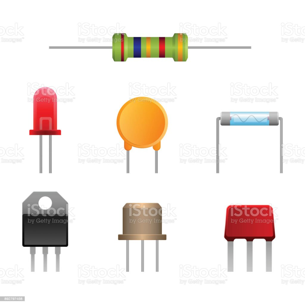 Diode types set, two-terminal electronic components vector ilustration vector art illustration
