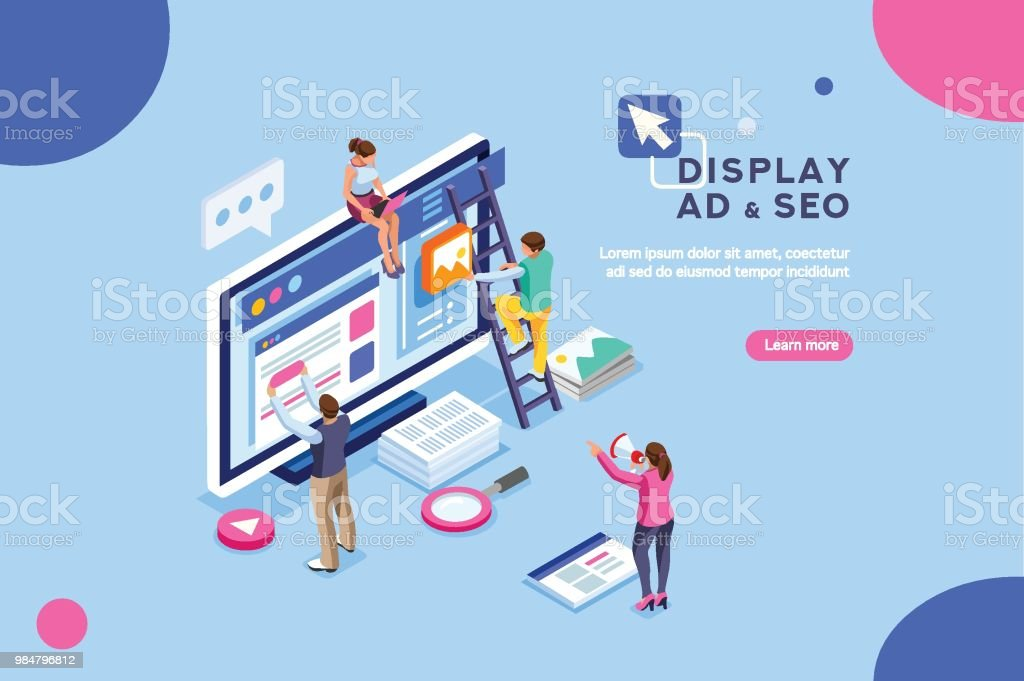 Diplay Campaign Pay per Click vector art illustration