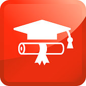 Diploma and Graduation Hat.. The icon is white and is placed on a square red vector sticker. The composition is simple and elegant. The vector icon is the most prominent part if this illustration. The red color of the sticker is perfect for catching attention or representing notice symbols. This is a 100% royalty free vector illustration and is easy to modify.