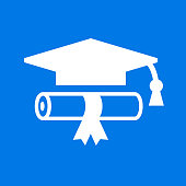 Diploma and Graduation Hat.. The main icon is placed on a flat blue background. It takes up the center portion of the composition and is the main focus of this vector illustration. The icon is simple and the background further emphasizes the icon shape and makes it stand out. The illustration is a 100% royalty free vector.