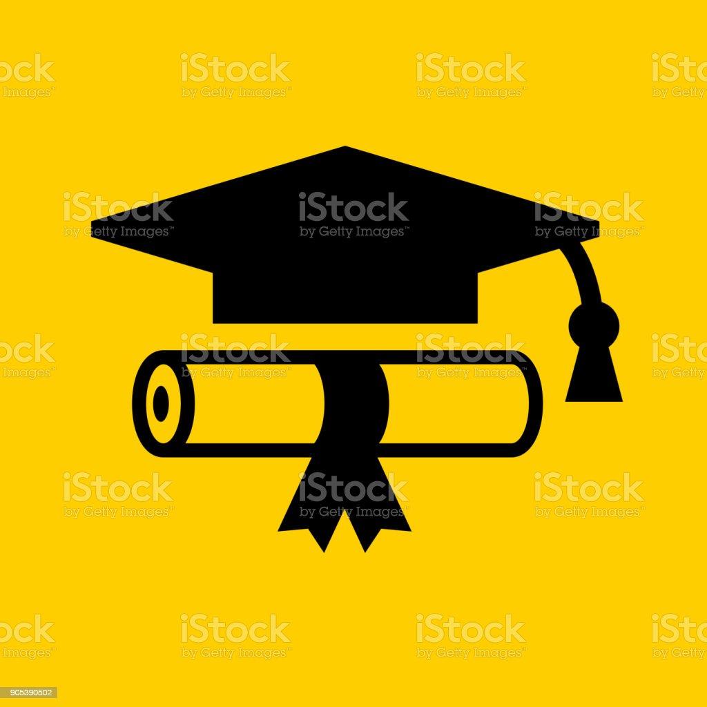 Diploma and Graduation Hat.
