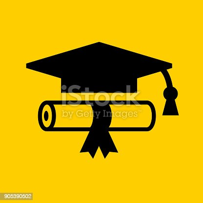 Diploma and Graduation Hat.. The icon is black and is placed on yellow background. The composition is simple and elegant. The vector icon is the most prominent part if this illustration. The yellow and black contrast is a good representation for alert, warning and notice signs. The colors are flat and the image is 100% royalty free vector.