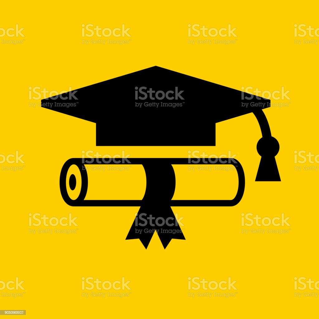 Diploma and Graduation Hat. vector art illustration