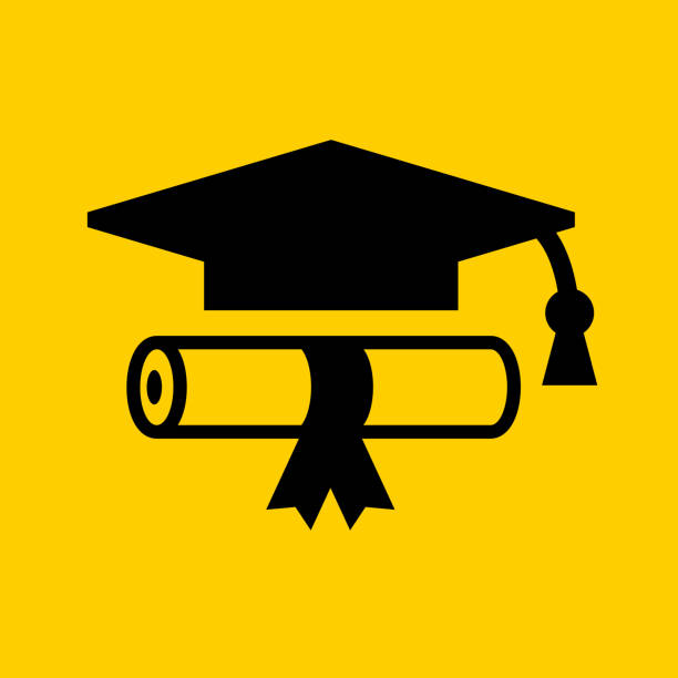 diploma and graduation hat. - university stock illustrations, clip art, cartoons, & icons