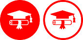 Diploma and Graduation Hat.The icon is white and is placed on a red vector round shape. The vector icon is white in color and is the most prominent part if this illustration. The red color of the circle is perfect for catching attention or representing notice symbols. This is a 100% royalty free vector illustration and is easy to modify. There is an alternate round shape with a red outline and red icon on the right side of the image.