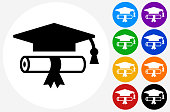 Diploma and Graduation Hat.The icon is black and is placed on a round blue vector button. The button is flat white color and the background is light. The composition is simple and elegant. The vector icon is the most prominent part if this illustration. There are eight alternate button variations on the right side of the image. The alternate colors are orange, red, purple, yellow, black, green, blue and indigo.