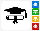Diploma and Hat Icon Flat Graphic Design
