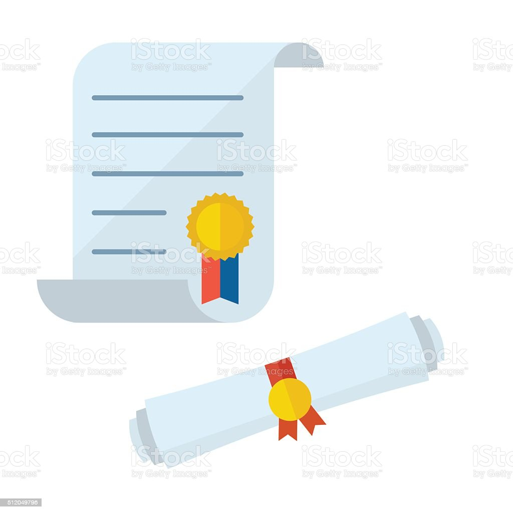 Diploma Blank Certificate Vector Icons vector art illustration