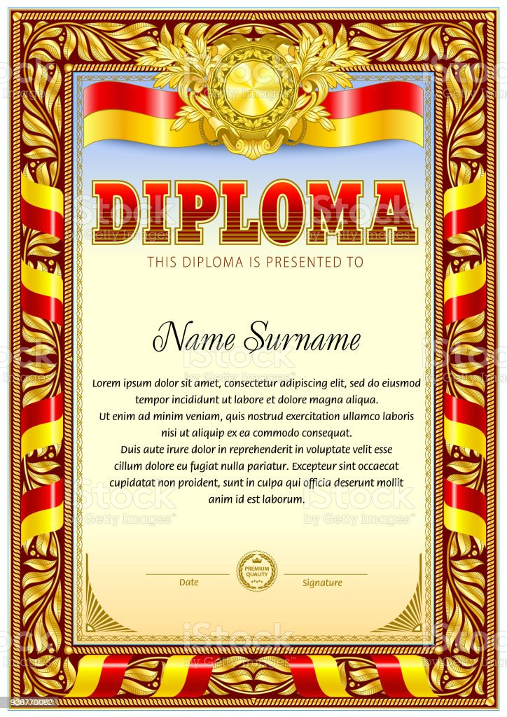 diploma blank template red ribbon decoration stock vector art more