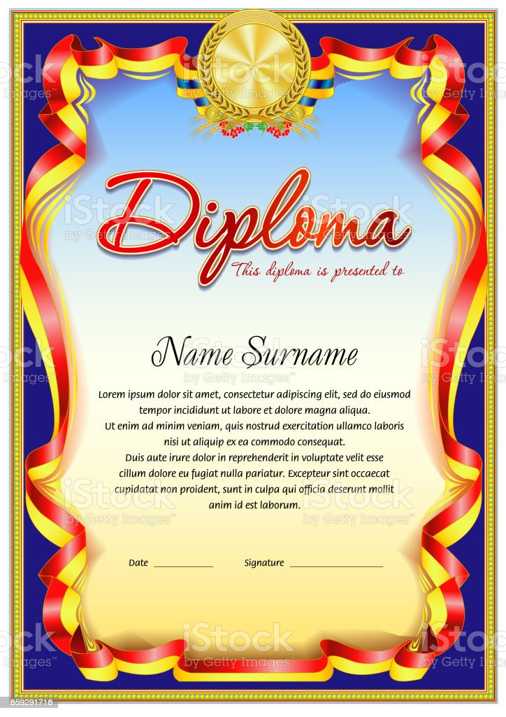 diploma blank template stock vector art more images of achievement